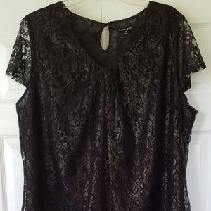 Plus size Black with gold shimmer blouse